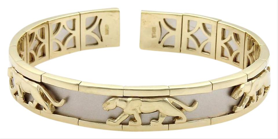 e35b76176 None Estate 14k Two Tone Gold Panther Design 10mm Open Cuff Band Bracelet  Image 0 ...