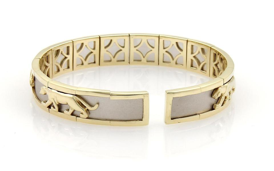 e9c879d03 None Estate 14k Two Tone Gold Panther Design 10mm Open Cuff Band Bracelet  Image 3. 1234