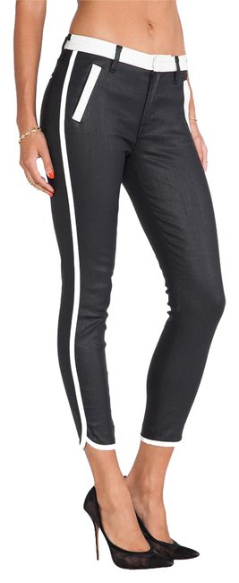 Item - Black Coated Sportif Cropped Skinny Jeans Size 27 (4, S)