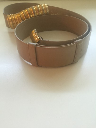 """Judith Leiber Judith Leiber Adjustable Beige Belt with Gold Tone & Silver Buckle. Full extension 39"""" width 1 & 3/4"""""""