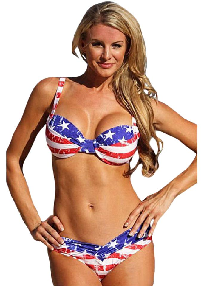 edded02058728 Red White Blue 4th Of July Usa Flag L Bikini Set Size OS (one size ...