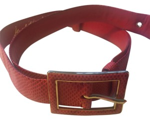 Judith Leiber Judith Leiber Adjustable red snake skin belt, full extension 42