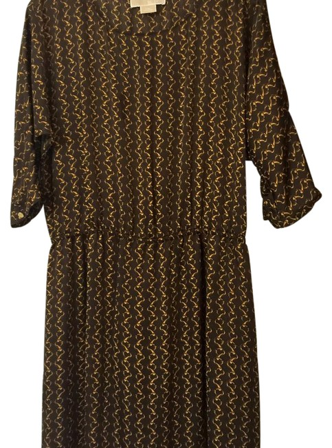 Item - Brown and Gold O Mid-length Work/Office Dress Size 8 (M)