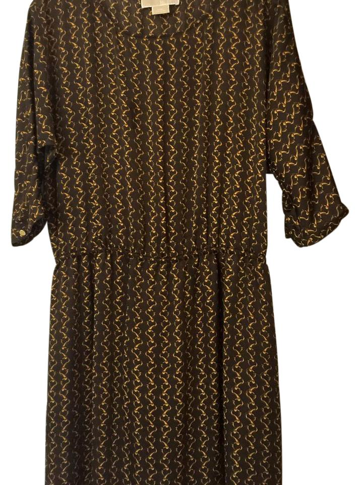 cb42915ef8474 Michael Kors Brown and Gold O Mid-length Work/Office Dress Size 8 (M ...