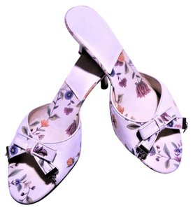 Dior Logo Floral Bow White Open Toe white floral Sandals