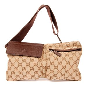 Gucci Monogram Waist Belt Canvas Classic Brown Travel Bag
