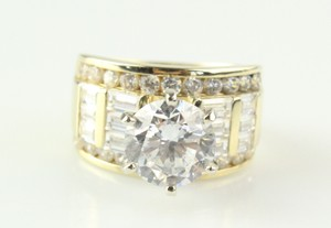 Gold 14k Solid Yellow 5.5ct Man Made Diamond Round Cut Engagement Ring