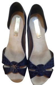Barbara Bui Embossed Patent Leather Blue Flats