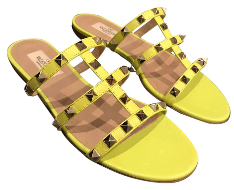 c052af333098 Valentino Yellow Rockstud Neon Leather Stud Gladiator Slide Flat 36.5  Sandals