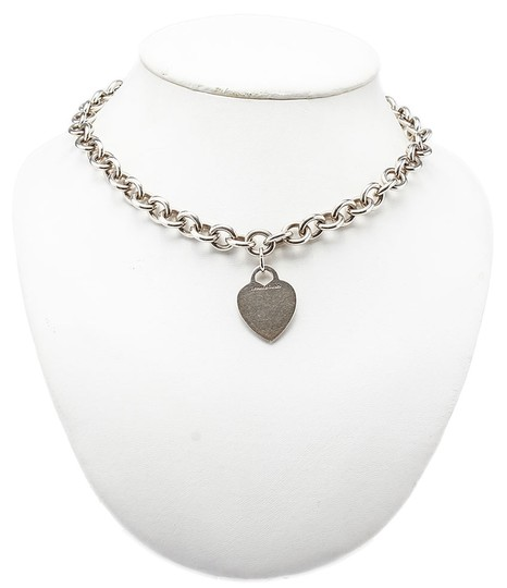 Tiffany & Co. Tiffany & Co. Sterling Silver 925 Heart Pendant Link Necklace (34992)