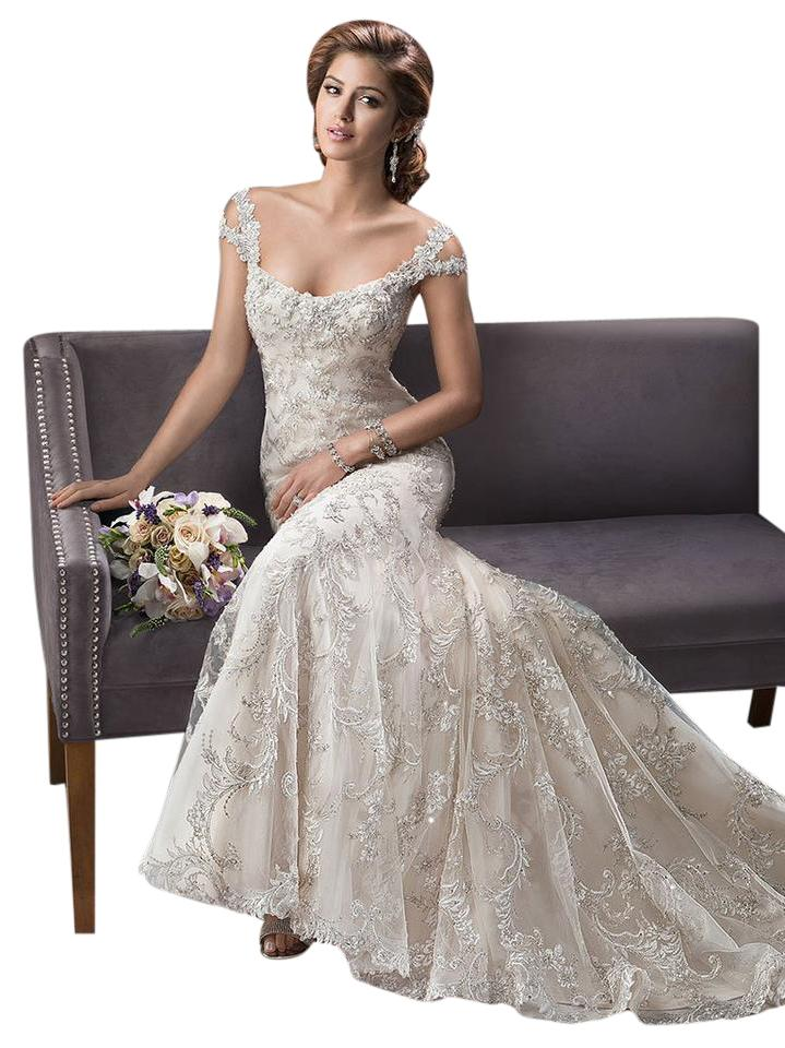 Sottero And Midgley Gold Silver Beaded Embroidered Lace On Tulle D Over Deered Satin Etienne