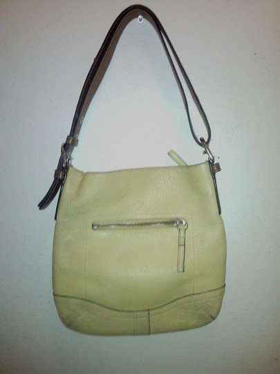 Coach Gently Used Leather Linen Free Shipping Shoulder Bag
