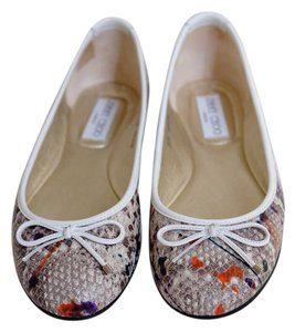 Jimmy Choo Rubber Sole Paint Splatter Neutral Ballet Natural/Multi Flats