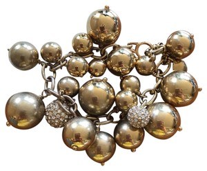 J.Crew J.Crew gold bubble link bracelet. different size balls make it fun. it also has 2 pave crystal balls. Dust bag included.