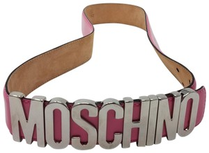 Moschino Pink leather Moschino silver-tone letter charms belt M