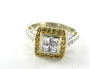 18kt White Yellow Gold Wedding Band 122 Diamond Ring Yellow Diamonds Sz 6 Jewel