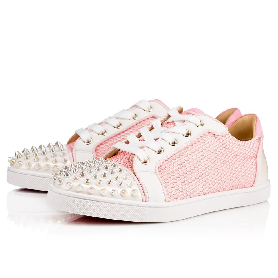 brand new 4e87e b8393 Christian Louboutin White/Pink Gondolita Spiked Studded Mesh Overlay Low  Top Sneakers Size EU 42 (Approx. US 12) Regular (M, B) 24% off retail