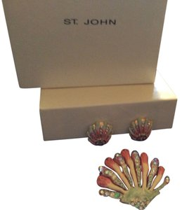 St. John REDUCED TO SALE St. John Authenic Jewelry, clip earrings and broach with Swarovski crystals in all pieces, see stamp on all pieces