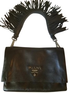 Prada Fringe Soft Leather Black Clutch