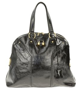 Saint Laurent Ysl Brass Leather Muse Satchel in Black