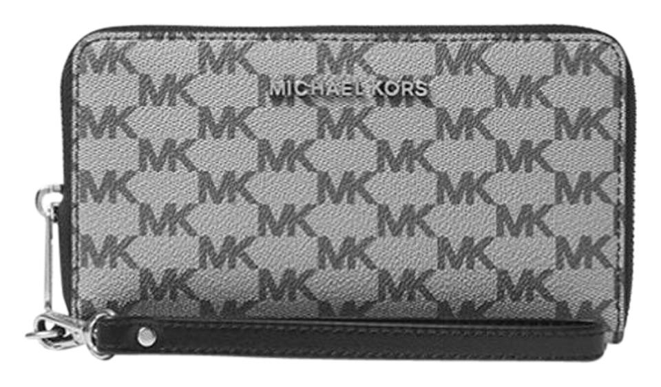 895c0d6a43d4 Michael Kors Black Khaki Jet Set Large Flat Mf Phone Case Logo Wristlet  Wallet