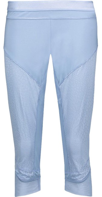 Item - Blue Cropped Paneled Leopard-print Mesh and Stretch Activewear Bottoms Size 6 (S, 28)