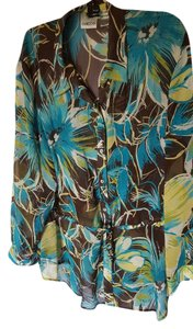 Chico's Button Down Shirt Chocolate, teal