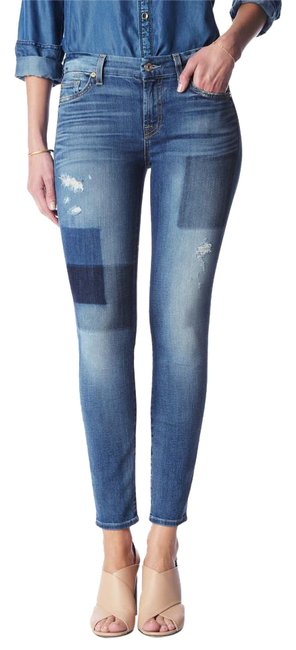 Item - Distressed Ankle In Light Patched Skinny Jeans Size 27 (4, S)