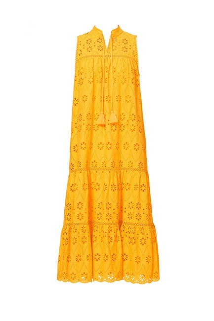Item - Yellow Spice Things Up Eyelet Patio Long Casual Maxi Dress Size 0 (XS)
