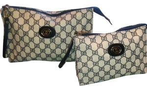 Gucci Rare Vintage Gucci Monogram GG Canvas cosmetic clutch Makeup Bags Set of 2. Navy/Cream