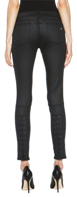 Item - Black Coated Devi Lace Up Skinny Jeans Size 29 (6, M)