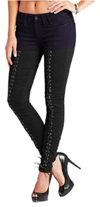 Guess Lace Up Skinny Two Tone Jeggings-Dark Rinse