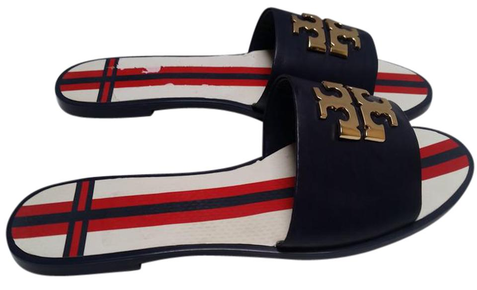 Tory Slide Burch Navy Sea Logo Slide Tory Sandals 83cdd2