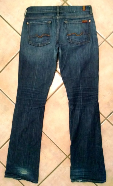 7 For All Mankind Size 29 Long Low Rise P1314 Boot Cut Jeans-Medium Wash