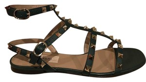 Valentino Rockstud Studded Ankle Strap Flat green Sandals