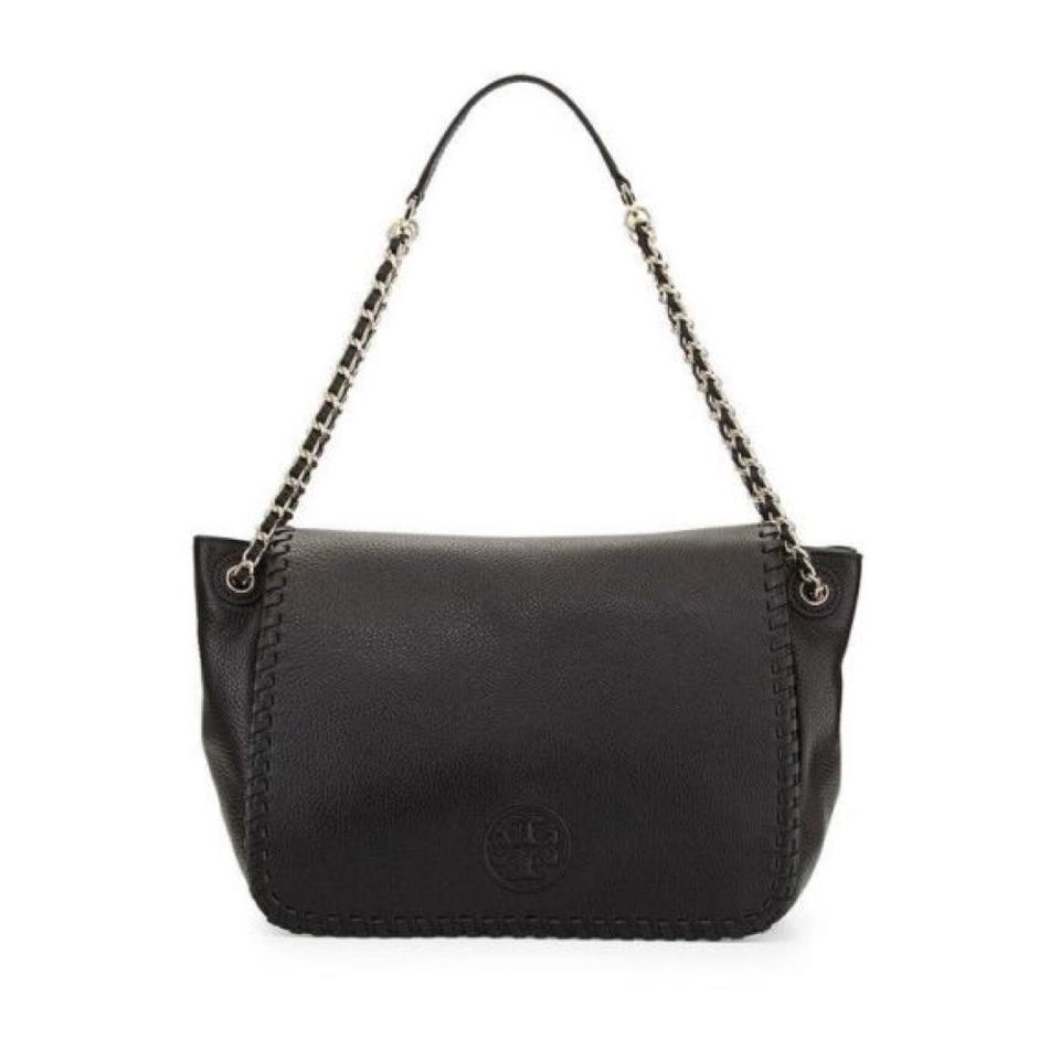 283a6ad6a79a Tory Burch Marion Flap Shoulder Black Leather Messenger Bag - Tradesy