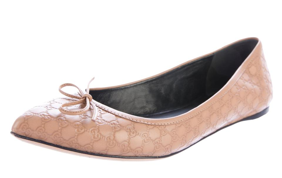 831bc3a642a Gucci Beige Brown Guccissima Monogram Leather Pointed-toe Flats Size ...