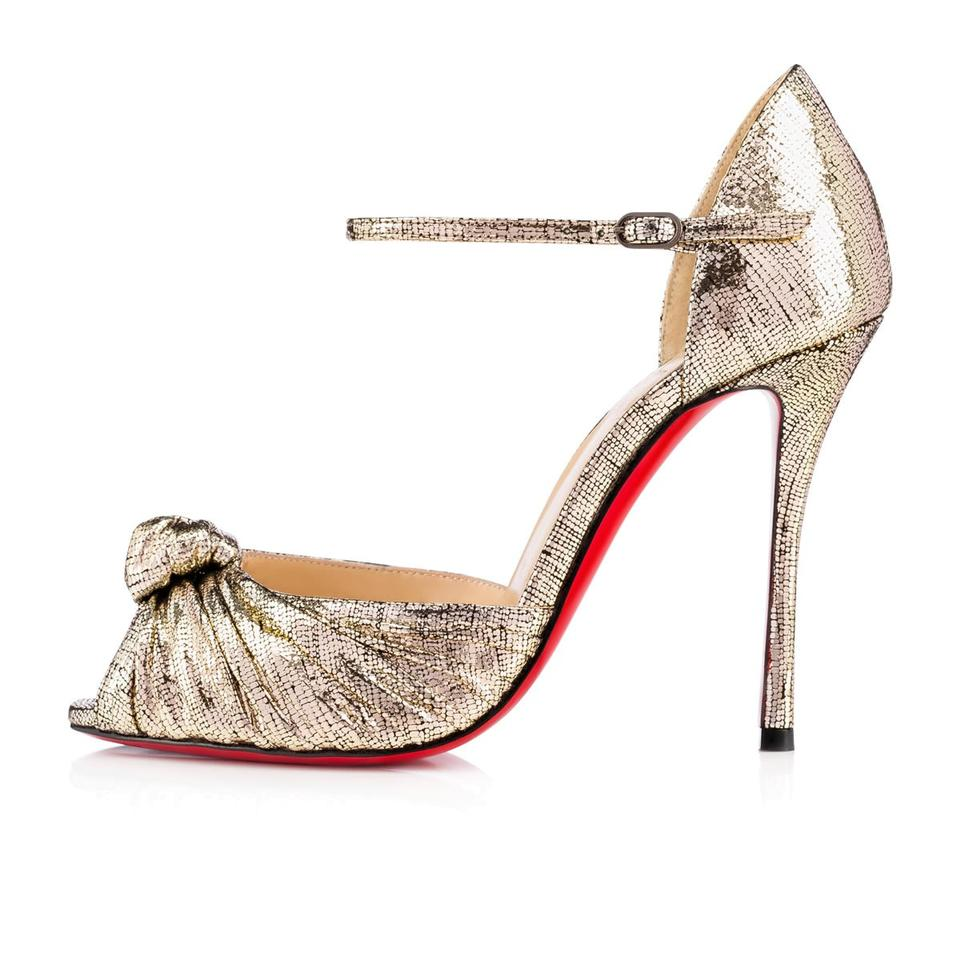 new arrival 579e7 e3d61 Christian Louboutin Platine (Gold) Marchavekel Knotted Metallic Leather  Ankle Strap Sandals Size EU 36 (Approx. US 6) Regular (M, B) 32% off retail