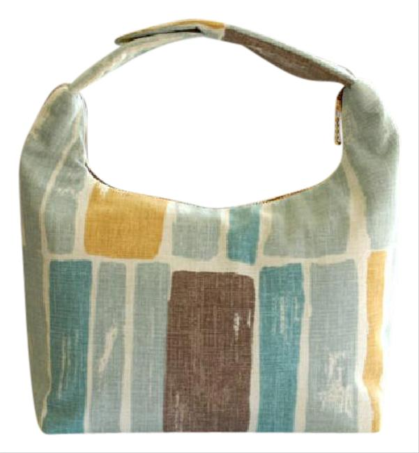 Item - Insulated Fabric Lunch Sky Blue Cream Brown and Mustard Cotton Blend Tote
