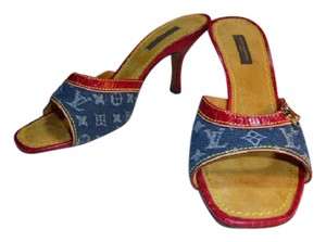 Louis Vuitton MONOGRAMMED DENIM WITH RED LEATHER Mules