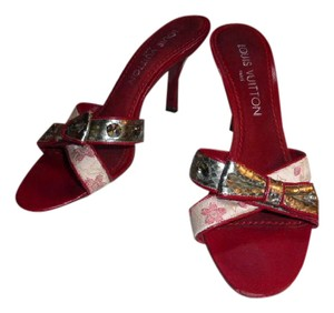 Louis Vuitton RED/SILVER LEATHER WITH MONOGRAMMED SATIN Mules