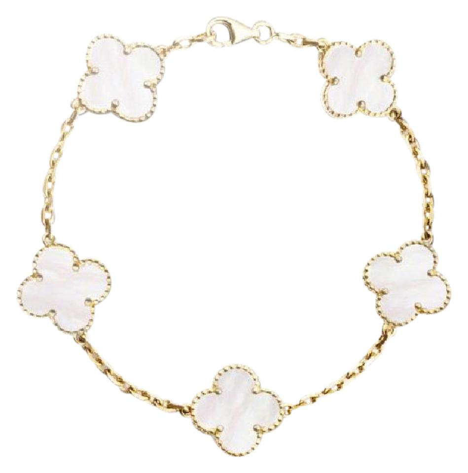 yellow van gold white alhambra of cleef vintage bracelet yg mother motifs i arpels vca and pear