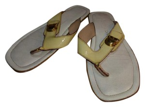 Louis Vuitton OFF WHITE SOLE & BEIGE PATENT LEATHER Sandals