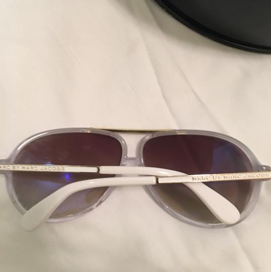 f386c3a05161 Marc by Marc Jacobs White and Gold Aviator Sunglasses - Tradesy
