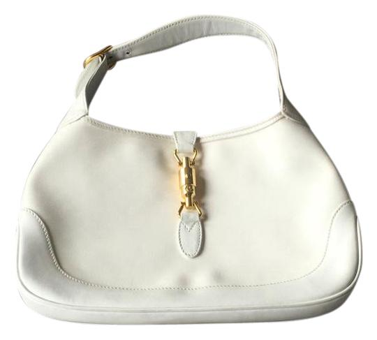 24d936407a0e Gucci Jackie Vintage Crossbody White Leather Gg Coated Canvas Shoulder Bag  - Tradesy