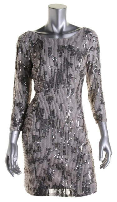 Item - Silver Womens Beaded 3/4 Sleeves Short Cocktail Dress Size 6 (S)