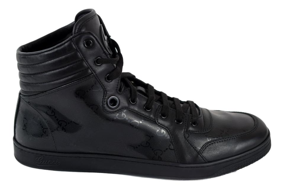 9b48587b5fd Gucci Black 224778 Mens High Top Lace Up Sneaker Gg Imprime Shoes Image 0  ...