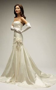 Melissa Sweet Ivory Taffeta Mila Modern Wedding Dress Size 2 (XS)