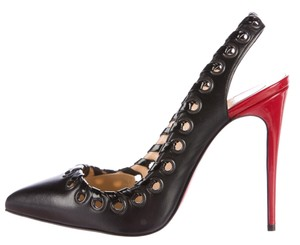 Christian Louboutin Slingback Pointed Toe Textured Perforated Ostri Black, Red Pumps