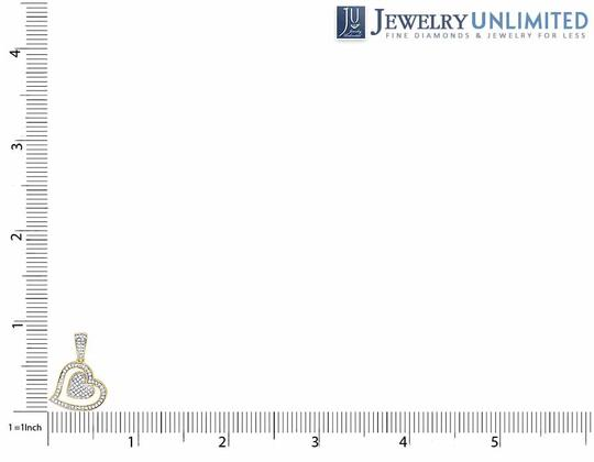 Other Ladies 10K Yellow Gold Tilted Double Heart Genuine Diamond Pendant 1/5
